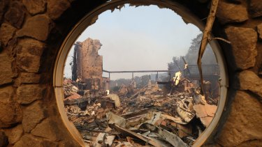 The fire-ravaged Signorello Estate winery at the Napa Valley.