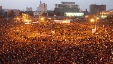 Mass protest ... demonstrators flood Cairo's Tahrir Square.