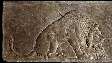 Assyrian king Ashurbanipal's <i>Dying Lion</i> relic.