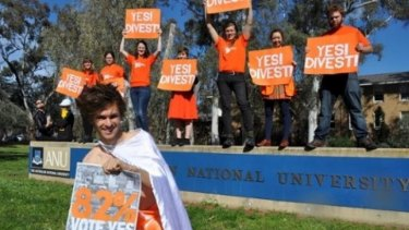 Yes vote: A poll of students was overwhelmingly in favour of ANU divesting itself of shares in fossil fuel businesses.