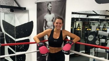 Jesinta Campbell in her newly familiar boxing pose.