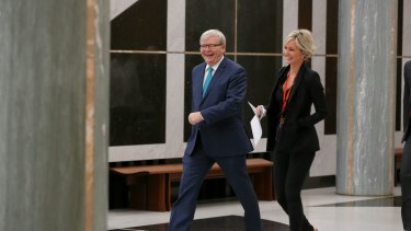 Former prime minister Kevin Rudd in the marble foyer of Parliament House on Thursday.