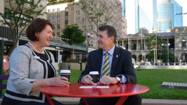 Brisbane Councillor Vicki Howard and Lord Mayor Graham Quirk.