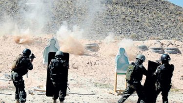 Members of Yemen's US-trained counter-terrorism force in target practice near the Yemeni capital, Sanaa.