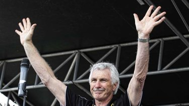 The morning after: Malthouse addresses the faithful.