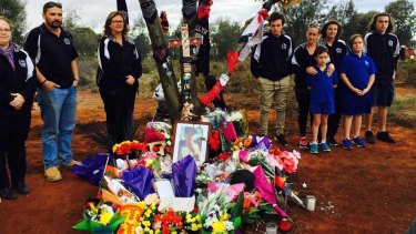 Members of the Kalgoorlie City Football club pay their respects to Elijah Doughty.