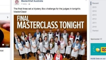 The photo on the MasterChef official Facebook page which spoiled Thursday night's elimination episode.