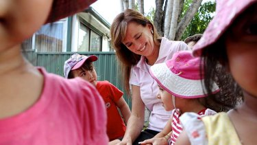 No worries here: Sharon Graham at the Bunny Cottage childcare centre in Bexley.
