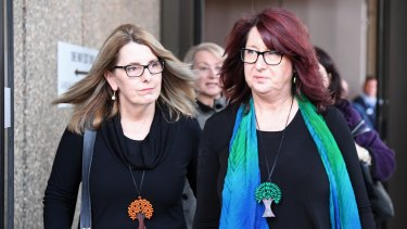 Glen Turner's widow Alison McKenzie, left, and his sister Fran Pearce, outside court during the trial of Ian Turnbull.