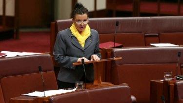 PUP Senator Jacqui Lambie during the debate on the Carbon Tax Repeal Bill. Photo: Alex Ellinghausen