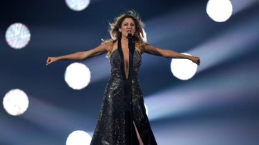 Maria Elena Kyriakou performs Greece's entry, One Last Breath, on stage during rehearsals for the final of the Eurovision Song Contest 2015 on May 22, 2015 in Vienna, Austria.