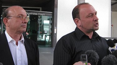 Carlos and Claudio (right) Sica speak to the media outside Brisbane Magistrates Court.