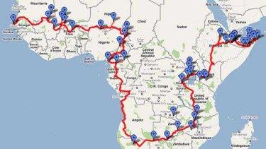 Kate Leeming's path across Africa.
