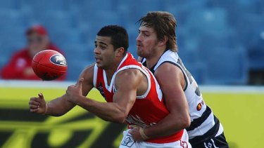 Ahmed Saad (left) will be St Kilda's new small forward.