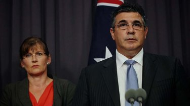 Sports Minister Kate Lundy and AFL chief Andrew Demetriou at a press conference in Parliament House, Canberra.