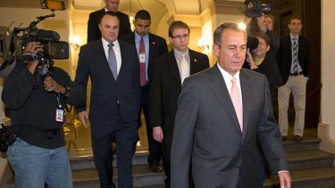 No deal: John Boehner on his way to the White House, where Barack Obama rejected his proposal.