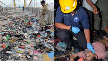 Left: Investigators examine shoes left on the Rainbow Bridge and right, an Australian firefighter checks for a pulse.