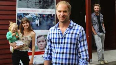 Red Stitch artistic director David Whiteley with actors Ella Caldwell, with daughter Molly, and Brett Cousins.