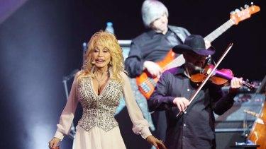 Dolly Parton performs live during her Blue Smoke tour of Australia.