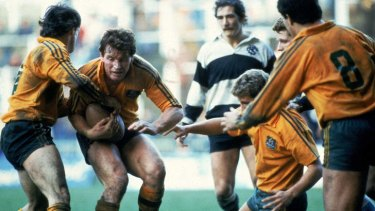 Simon Poidevin of the Wallabies in action during the 1984 Grand Slam Rugby match between the Barbarians and the Wallabies in London.