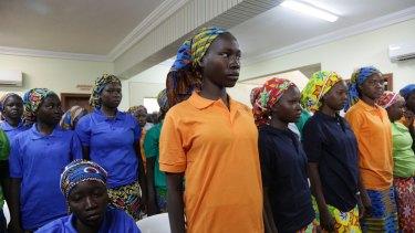 Chibok schoolgirls, recently freed from Nigeria extremist captivity.