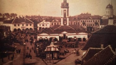 A postcard at the Ludwik Zamenhof Centre in Bialystok shows the old city hall.
