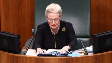 """Bronwyn """"Biggles"""" Bishop steers Parliament in her role as Speaker."""