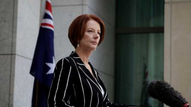 Julia Gillard at her news conference yesterday.