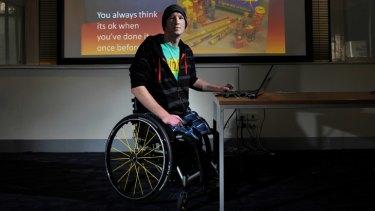 Matt Lewis warns schoolchildren about risky behaviour.