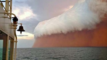 Nature's wrath ... a spectacular gust front associated with cyclone Narelle was captured about 25 nautical miles north-west of Onslow in Western Australia on Wednesday. The red tinge results from dust picked up from the Pilbara.