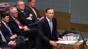 Prime Minister Tony Abbott makes a national security statement to the lower house.