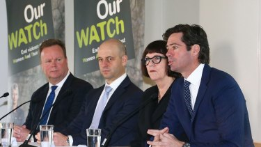 AFL chief executive Gillon McLachlan (far right) at an 'Our Watch' event.