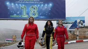 ''We are girls and we are racing'' … the West Bank's all-women Speed Sisters motor sport team, from left, Betty Saadeh, Noor Daoud and Maysoon Jayyusi.