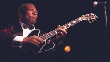 BB King in a classic pose performing at the Hordern Pavilion.