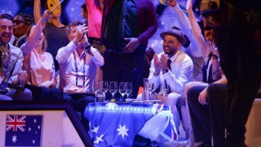 Performance: Guy Sebastian in the Eurovision green room during the grand final in Vienna.