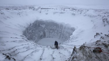 """One of the craters in a Siberian area called """"the ends of the Earth""""."""