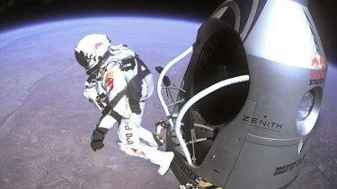 Felix Baumgartner leaps into the stratosphere.