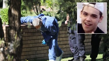 Police search for evidence outside the Glenfield home of Jayden Dillon (inset).