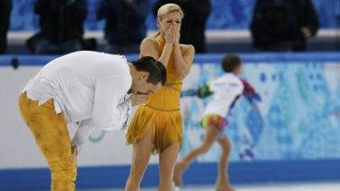 Overwhelmed: Tatiana Volosozhar and Maxim Trankov.