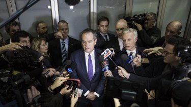 Opposition Leader Bill Shorten speaks to the media after he appeared at the Royal Commission into Trade Union Governance and Corruption on July 9, 2015 in Sydney.
