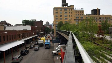 A view of green space along the first section of the High Line in New York.