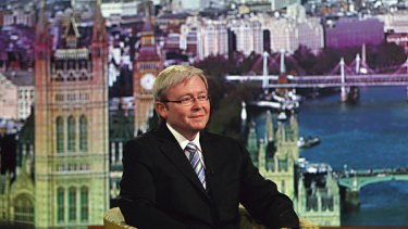Winning the popularity contest ... Kevin Rudd on the The Andrew Marr Show on BBC TV.
