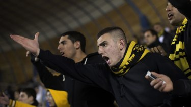 Emotional … Beitar Jerusalem supporters at Sunday's match against Bnei Sakhnin. Some Beitar fans are dismayed and ashamed of fellow supporters.