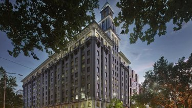 Renders of the planned refurbishment of the T&G Building at 161 Collins Street, now owned by Pembroke Real Estate.