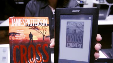 """James Patterson's """"Cross Country"""" is shown on the Sony Reader."""