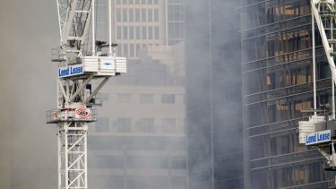 Building fire at Barangaroo development site.