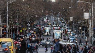 Peak-hour congestion on Collins Street