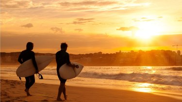 Annual extremes: Surfers at Bondi Beach.