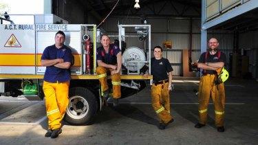 Volunteer firefighters Dennis Harding, Jamie Schulhin, Charlotte Adams and Matt Leonard.