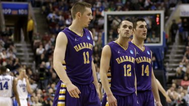 Three of University of Albany's Australian connection - Luke Devlin #11, Peter Hooley #12 and Sam Rowley #14,during the clash with the Duke Blue Devils during the second round of the 2013 NCAA tournament at Wells Fargo Center in Philadelphia.